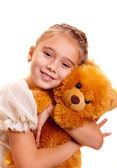 Petite fille et les ours en peluche — Photo