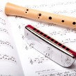 Mouth harmonica and wooden flute — Stock Photo