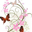 Royalty-Free Stock Vector Image: Floral background with butterflies