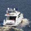 speedboat cruising in the river dnipro — Stock Photo