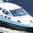 Stock Photo: Speedboat cruising in river Dnipro