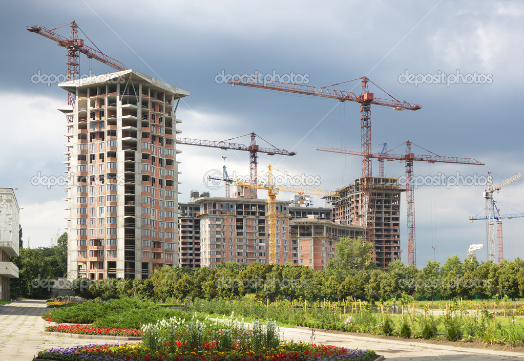 modern building construction stock photo