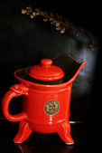 Red china teapot — Stock Photo