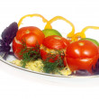 Stuffed tomato on the plate — Stock Photo
