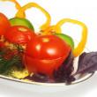Stuffed tomato on the plate — Stock Photo