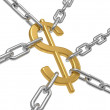 The dollar hangs on chains - Stock Photo