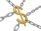 The dollar hangs on chains — Stock Photo