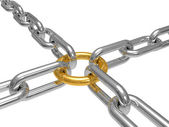 Chain with a gold ring — Stock Photo