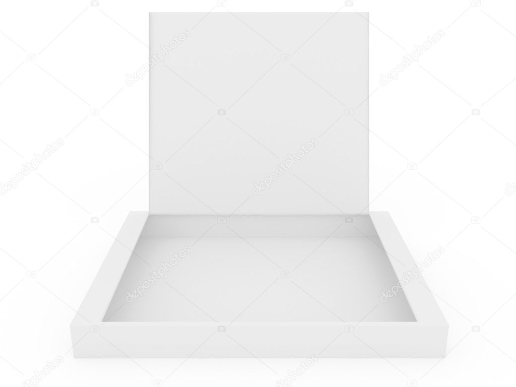 White opened cardboard box isolated on white background — Foto Stock #1138744