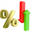 Percent symbol  and arrows — Stock Photo
