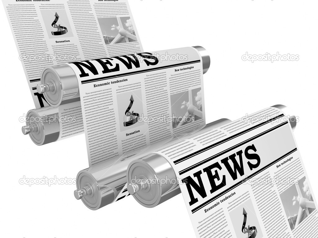 The newspaper on the conveyor in the course of the press — Stock Photo #1142010