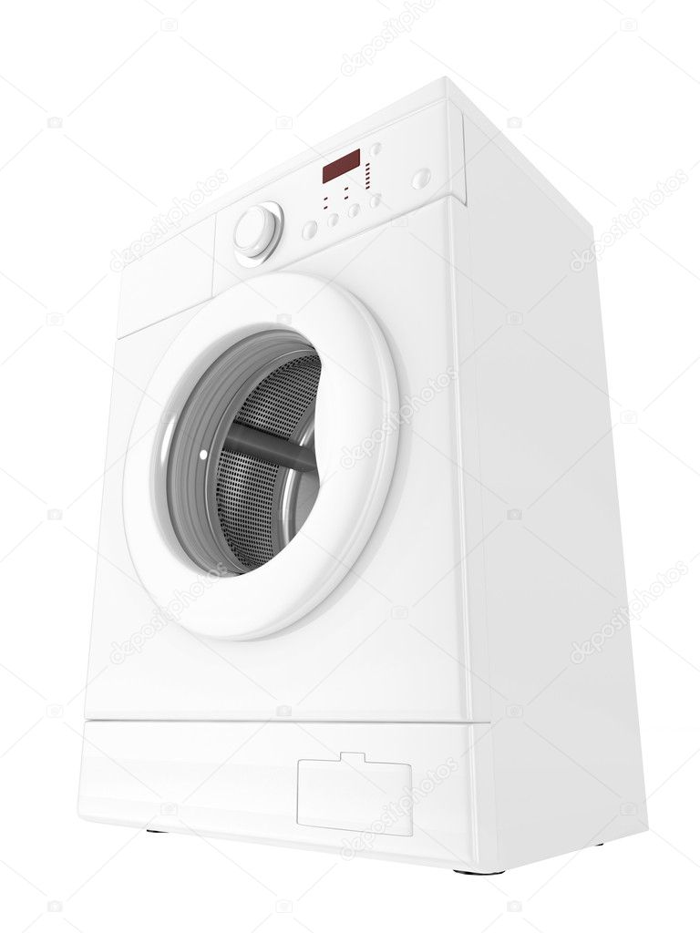 Image 3d of classic washing machine with white background — Stock Photo #1143899