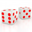 Three-dimensional white dice — Stock Photo