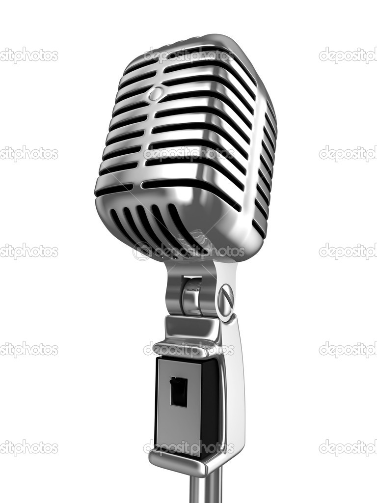 Old classical gold microphone on white background  Stock Photo #1154849