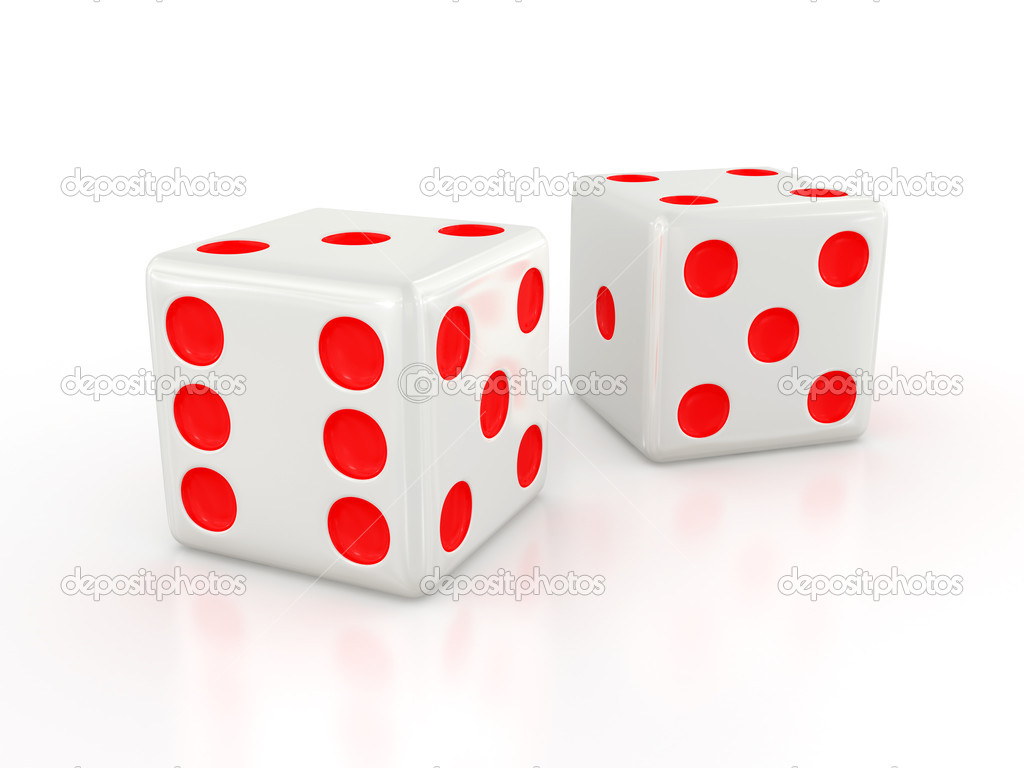 Three-dimensional white dice isolated on white with shadow — Stock Photo #1159784