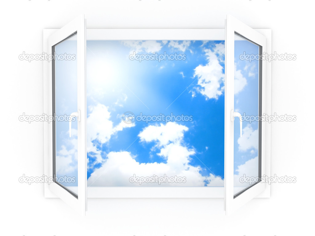 Opened plastic window template model on a white background — Stock Photo #1165744