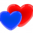 Stock Photo: Red and dark blue heart