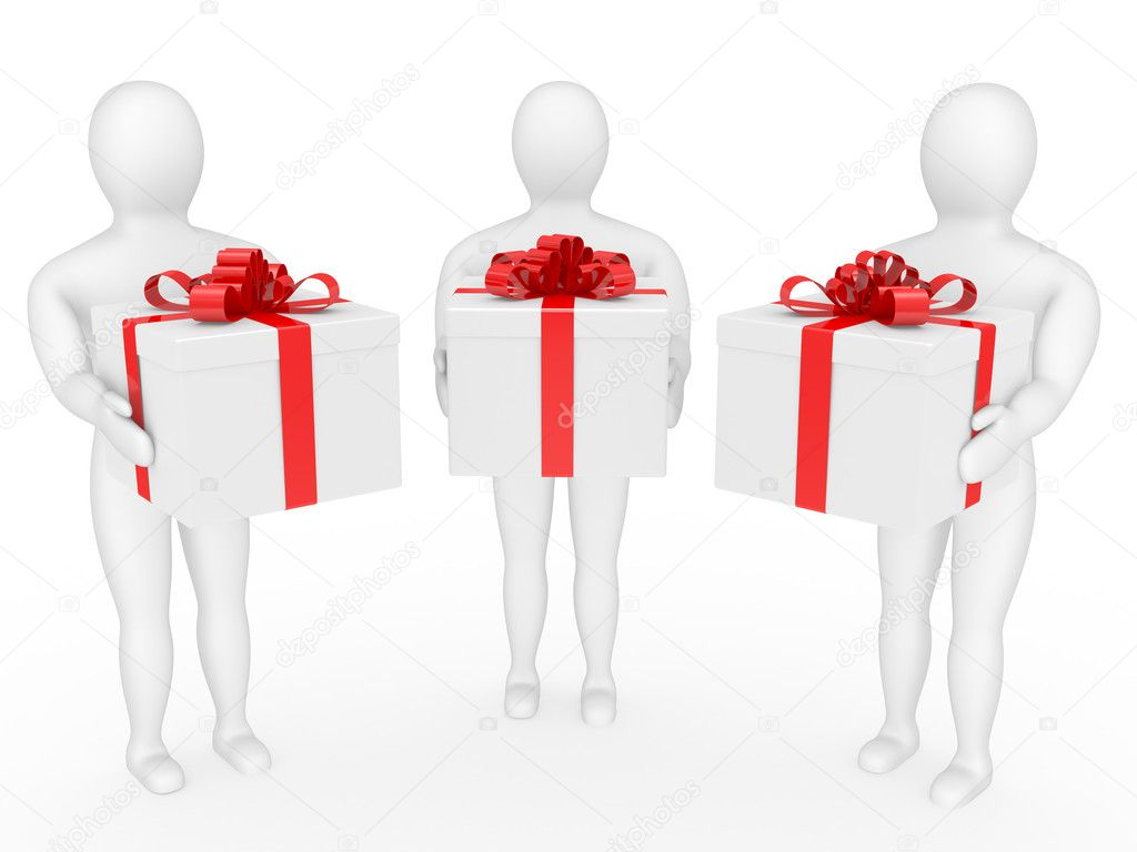 The person holds a box with a gift in hands — Stock Photo #1994106