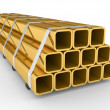 Stock Photo: Metal square pipes
