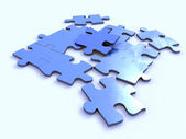 Puzzle blue — Stock Photo