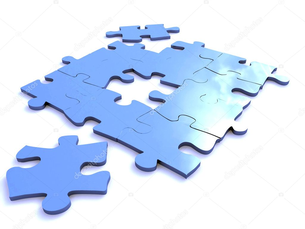 Blue puzzle isolated on white — Stock Photo #1070456