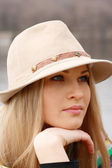 Blonde girl in hat — Stock Photo