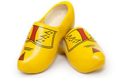 Pair of wooden shoes - klompen — Stock Photo