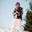 Girl with skis — Stock Photo