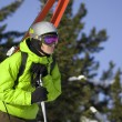 Skier looking for a ride — Stock Photo #1061850