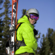 Skier with skis on back — Stock Photo #1061856