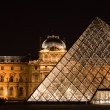 Central gate - pyramid of Louvre - Stock Photo