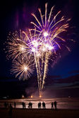 Fireworks on the beach — Stock Photo