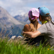 Couple enjoying a mountains view — Stock Photo #1106519