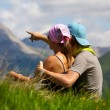 Couple enjoing a mountains view — Stock Photo