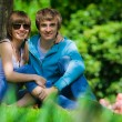 Happy young couple in park — Stock Photo #1106886