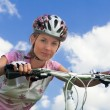 Girl with bicycle. Close shot — Stock Photo