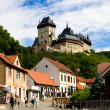 Karlstein castle and old town - Stock Photo