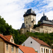 Karlstein castle and old roofs — 图库照片