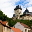Karlstein castle and old roofs — Foto de Stock