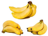 Set of banana pictures. Isolated on whit — Stock Photo