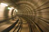 Metro tunnel, blurred motion — Stock Photo