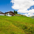 Alpine chalet in mountains. Summer time - Stock Photo