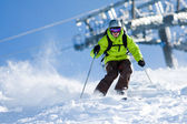 Off-piste skiing — Stock Photo