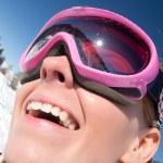 Funny portrait of girl skier — Stock Photo
