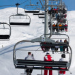 On a chairlift, ski resort — Stock Photo