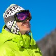 Young man smiling in ski mask — Stok fotoğraf