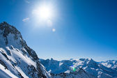 Sun and blue sky. Alps — Stock Photo