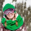 Stock Photo: Young skier smiling