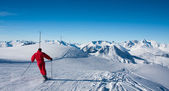 Skier on ski slope — Stock Photo