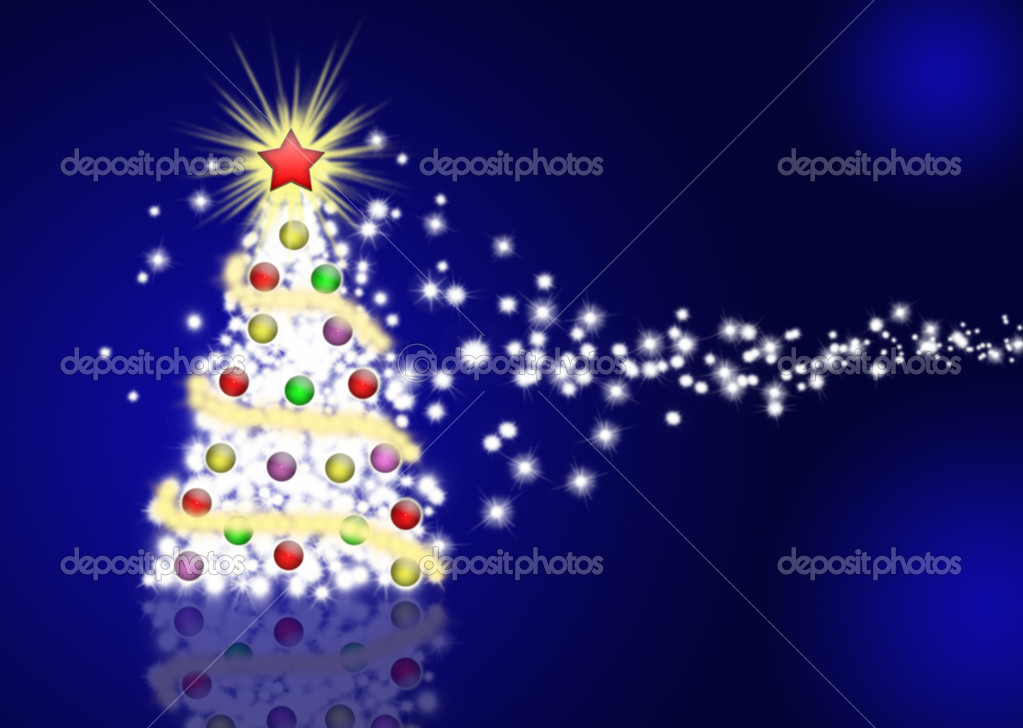  Christmas tree illustration on dark blue background  Stock Photo #1067912